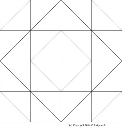 Modèle de boîte en origami à colorier