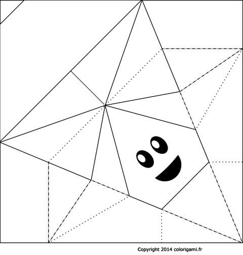 Bonhomme champignon en origami à colorier