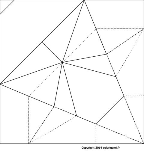 Champignon en origami à colorier
