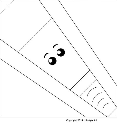 Modèle de tête d'éléphant en origami à colorier