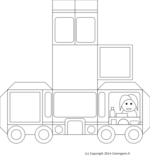 Coloriage de food truck en papier