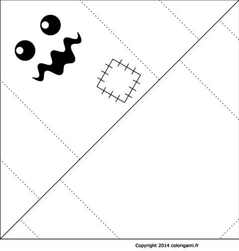 Monstre fantôme en origami à colorier