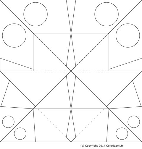 Modèle de papillon en origami à colorier