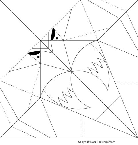 Modèle de perroquet en origami à colorier