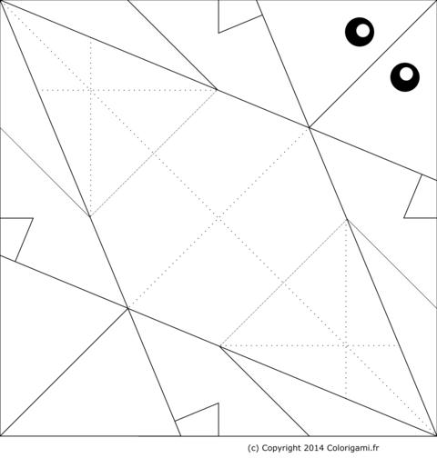 Modèle de poisson en origami à colorier