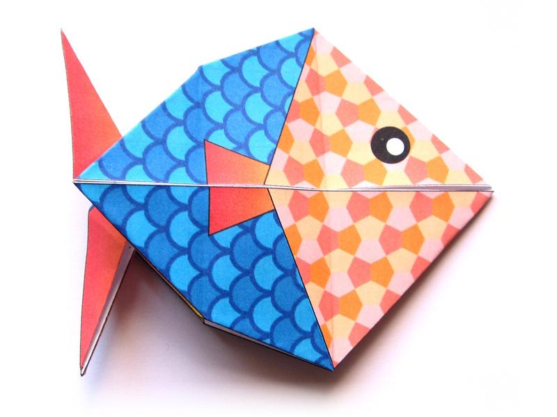 poisson en origami. Black Bedroom Furniture Sets. Home Design Ideas