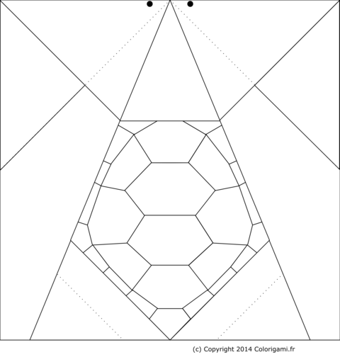 Coloriage tortue origami